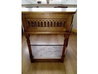 Small (side, corner, hall, console) table, vintage oak, Priory.