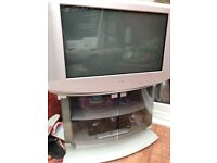 Sony Trinitron 28 inch TV, inc glass cabinet/stand. Great for gamers.