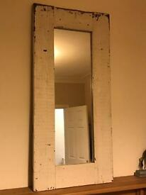 A large lovely painted pine rustic/shabby chic mirror