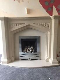 3 piece marble and resin fireplace