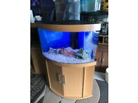 190l Juwel corner fish tank v g c full set up with stand 2x t8 light filter heater gravel ornament