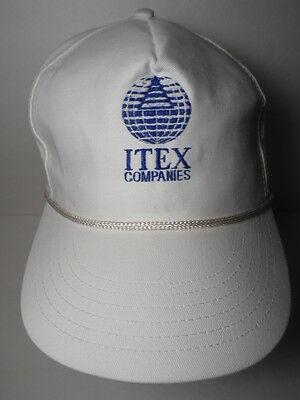 Vintage 1990S Itex Companies Logo Advertising White Adjustable Hat Rope Cap