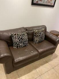 2 Seater Sofa (Brown Leather) X2