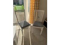 White & Grey Norrnas (Ikea) Dining Chairs x2