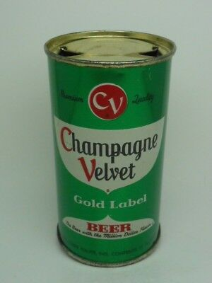 GREEN-Champagne Velvet Flat Top Beer Can-Terre Haute INDIANA