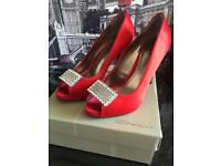 Red Satin Formal High Heels