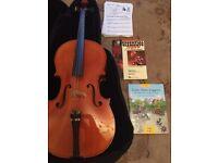 3/4 Cello plus soft case, books and 2 bows