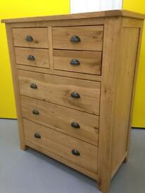 Solid Oak Chunky Farmhouse Chest of Drawers / sideboard / dresser / Furniture Sutton