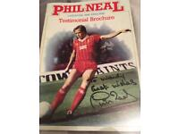 Signed Phil Neal testimonial brochure.