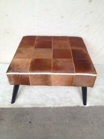 NEW GENUINE LARGE COW HIDE STOOL/ POUFFE NEW HEIGHT 470MM, WIDTH 840MM