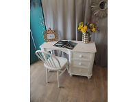 Lovely shabby chic solid pine desk with chair