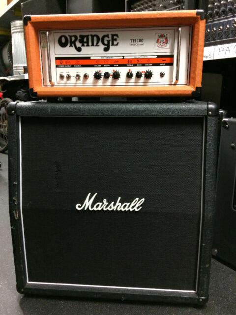 """3724ee2413 Guitar Amplifier Head Orange Thunder100 in flight case - Marshall AVT412XA  Cab & 15"""" Speaker"""