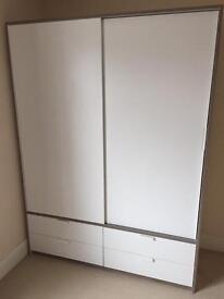 IKEA Trysil Double Wardrobe White and Oak