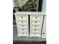 White pine tall boy chest of drawers