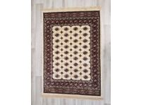 Ivory Ground Kashmiri Rug with Bokhara Design (DELIVERY AVAILABLE)