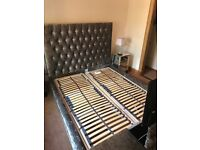 Adjustable tv twin bed with mattresses, crushed velvet. Like new
