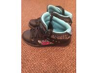 Girls ladies Skechers size 3 high tops black zebra
