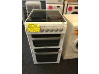 HOTPOINT 50CM CEROMIC TOP ELECTRIC COOKER IN WHITE