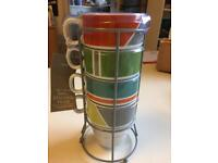 BNWT Next Set Of 4 Stacking Mugs With Stand