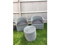 Rattan garden tub chairs and coffee table