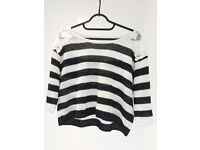 GOELIA Knitted Black and White Top Size M