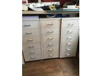Metal 6 drawer units. Ideal for storage or filing creamy/white