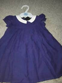 Girls M&S navy dress with collar 6-9 months.