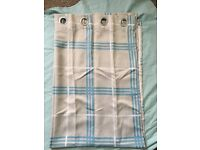 Denver Check Stripe Ring Top Curtains