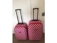 Ladies Pink and White polka dot luggage