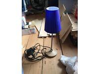 Vintage Ikea Blue Glass Table Lamp