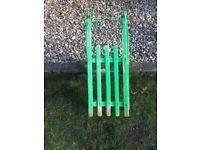 Vintage wooden sledge, metal runners