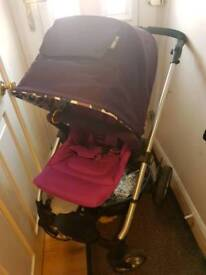 Mamas and Papas Sola Pushchair with carseat adapters and newborn cocoon