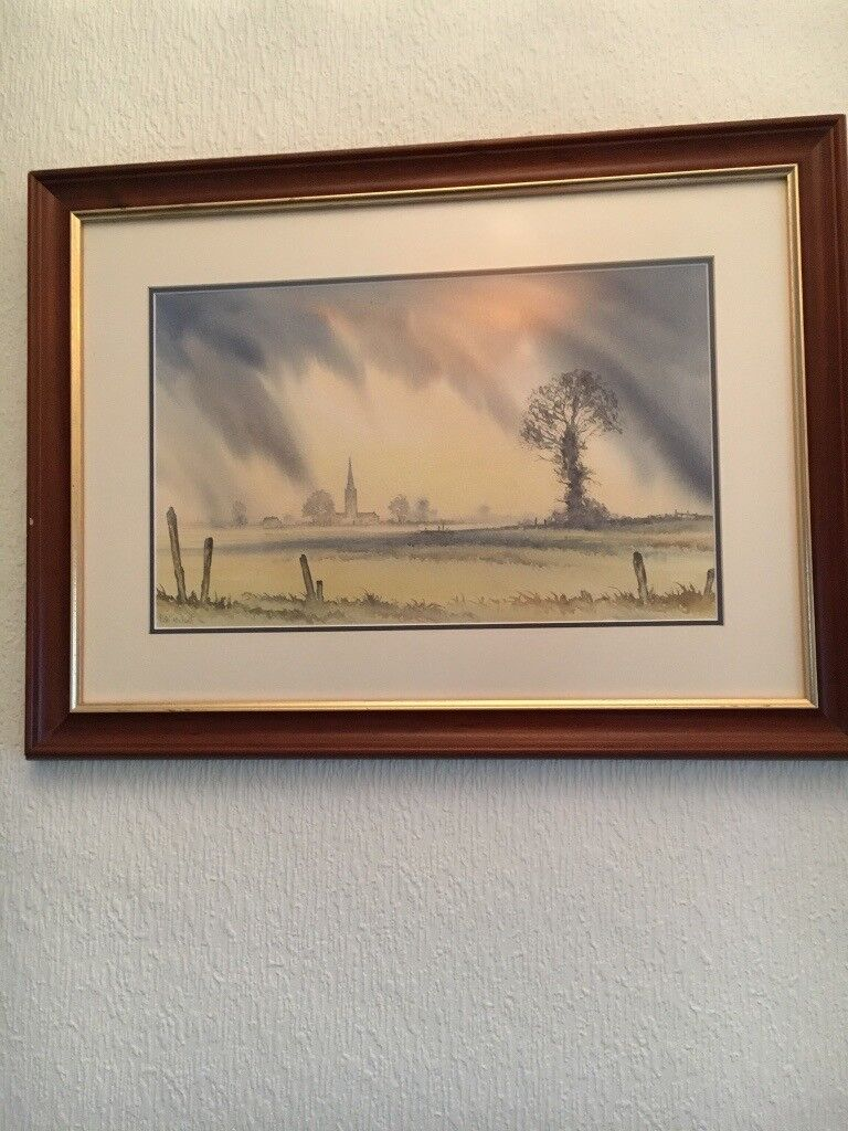 Picture water colour of a landscape and chapel