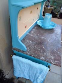 STYLISH SHABBY CHIC WASH STAND WITH MARBLE TOP.