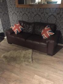 3 & 2 seater sofas - brown faux leather - can deliver
