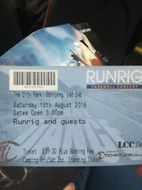 2 camping tickets Runrig Stirling £100 each
