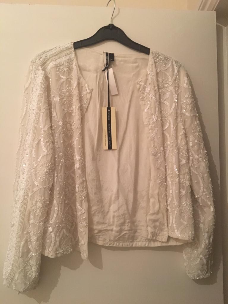 Sequin beaded jacket topshop
