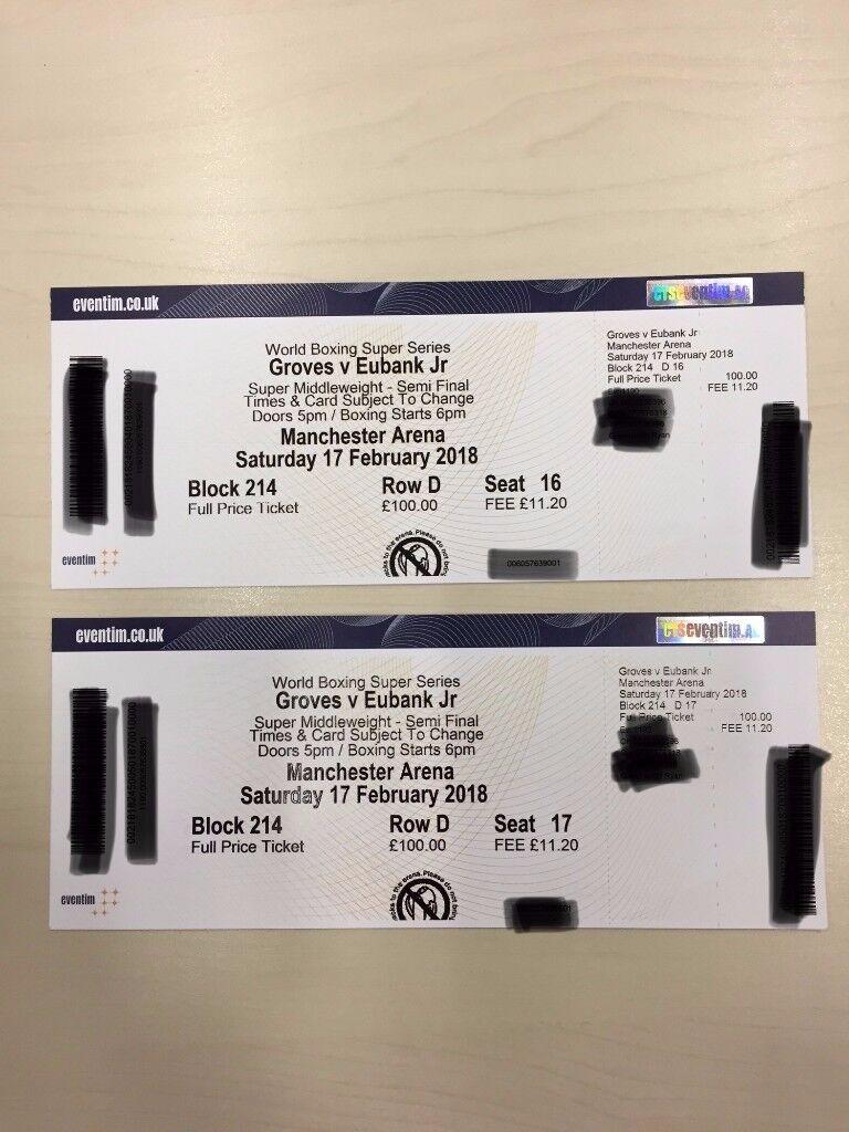 2 x Groves vs Eubank Jr tickets, Upper