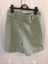 Ladies green wool shorts