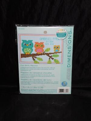 owl birth record cross stitch kit new