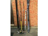 3 fishing rods and reels, 2 rod stand holder and beach shelter