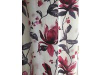 Eyelet Curtains - cream, grey ad deep pink pattern
