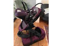 Baby Jogger Citi Mini Pushchair in purple with Carry Cot, Car Seat and Adapters