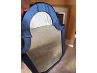 Traditional Shape, Large Clear/Blue edged Glass Mirror