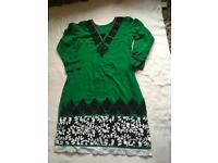 Indian Pakistani ladies dress green size 14 used cotton £4