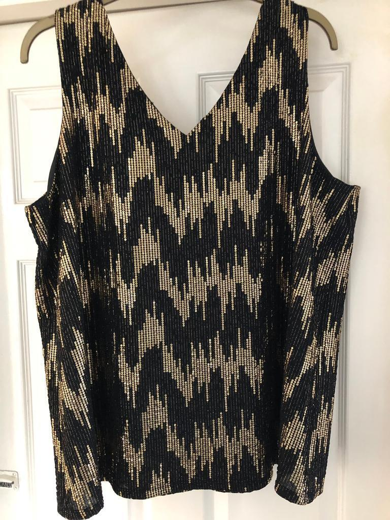 34870079072a41 Gold and black sequin top 22 24 evans