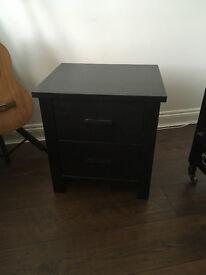 Black 3 Drawer Bedside Table