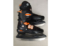 Junior Hardboot Adjustable Ice Skate – Black