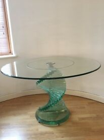 Beautiful glass dining table with spiral feature pedestal - excellent condition £595 ONO