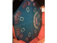 Poker Table and chips set. Chips in a metal brief case. Poker table in excellent condition.